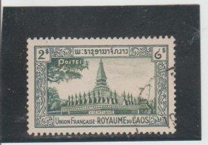 Laos  Scott#  13  Used  (1951 Temple at Vientiane)