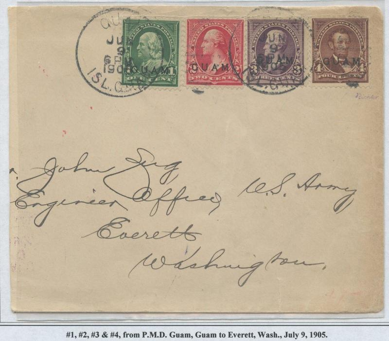 GUAM #1-4 ON COVER JULY 9, 1905 CV $1,250 BS8438 HS108G