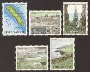 Faroe Islands Sc# 161-5 MNH Hestur Island Scenes