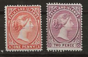Falkland Islands 12-13 SG 24,26 MLH VF 1896-1902 SCV $24.50 (jr)