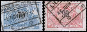 Belgium Scott Q27-28 (1901-02) Used H F-VF