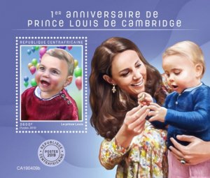 C A R - 2019 - Prince Louis of Cambridge - Perf Souv Sheet - MNH