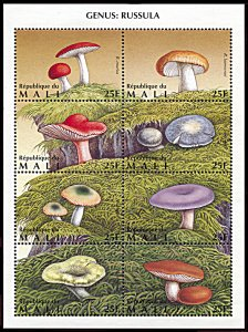 Mali 763, MNH, Mushrooms, Genus Russula miniature sheet of 8