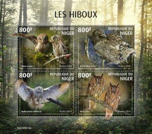 NIGER - 2019 - Owls - Perf 4v Sheet - MNH