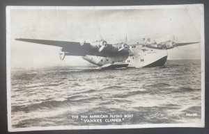 1940 Warwick England RPPC Postcard Cover Pan American Flying Boat Yankee Clipper