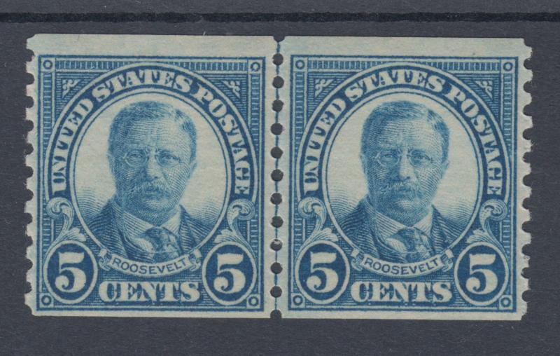 US Sc 602 MNH. 1924 5c dark blue Roosevelt, coil Joint Line Pair, F-VF