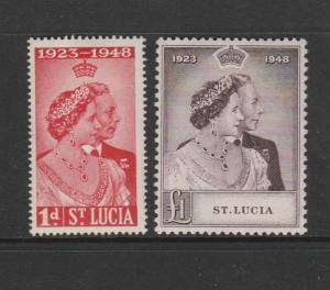 St Lucia 1948 Wedding MM SG 144/5