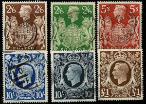 G.B. 1939-48 FULL SET HIGH VALUES USED (VFU) SG476-8c Wmk.w133 P.14 VGC