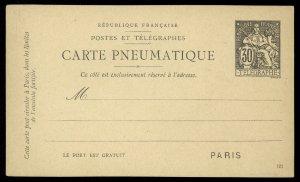 fr004 France Telegraphes Carte Pneumatique Paris 30 centimes black unused