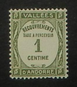 Andorra (French) J16. 1935 1c Gray green postage due