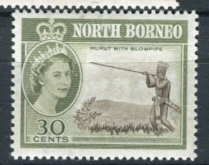 NORTH BORNEO; 1961 early QEII pictorial issue fine Mint hinged 30c. value