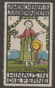 Germany - Youth Hiking Club Advertising Stamp - Into the Yonder! - NG