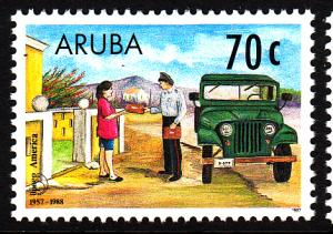 Aruba MNH Scott #145 70c Mailman delivering mail with jeep