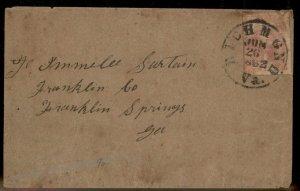 CSA #5 Civil War Confederate 10c Jefferson Richmond VA Cover Ex Whittle 92716