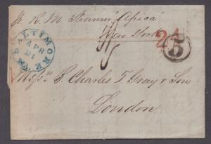 **US Stampless Cover Ship Mail, Baltimore 4/27/1857 to London, Paid 24