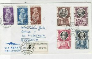Vatican 1963 Registered Airmail  Mixed Subjects Multiple Stamps Cover Ref 29475