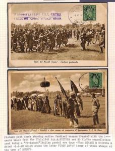 MS3931 1948 BOIC BMA Eritrea*Senafe* Native Festival TWO Postcards FIRST DAY USE