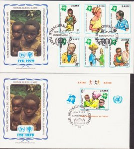 ZAIRE AFRICA CONGO YEAR OF CHILD 1979 2 FDC's 17431