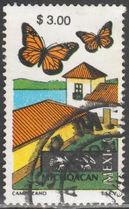 MEXICO 2125, $3.00 Tourism MICHOACAN, BUTTERFLIES. USED. VF. (859)
