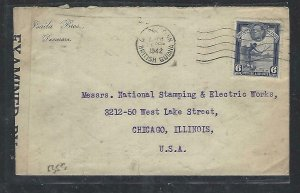 BRITISH GUIANA COVER (PP2909BB) 1944 KGVI 6C CENSOR DEMERARA TO USA