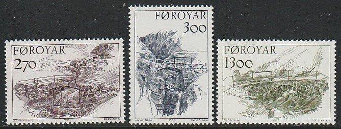 1986 Faroe Islands - Sc 149-51 - MNH VF - 3 single - Old Stone Bridges