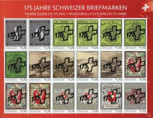 Grenada Stamps-on-Stamps 2020 MNH Swiss Postage Stamps Silver OVPT 18v M/S II