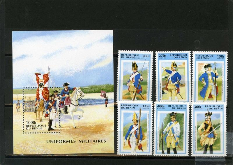 BENIN 1997 Sc#952-958 MILITARY UNIFORMS SET OF 6 STAMPS & S/S MNH