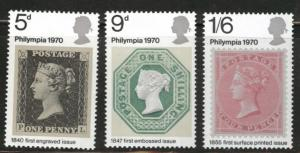 Great Britain Scott 642-44 MH* 1970  stamp on stamp set