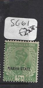 INDIA  NABHA   (P2508B)   KGV   1/2A   SG 61       MOG