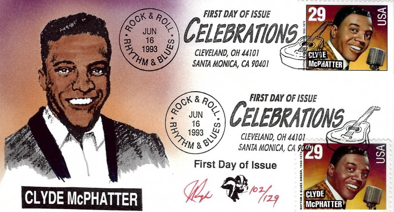 Pugh Designed/Painted Celebrate Clyde McPHatter FDC...102 of 129 created!