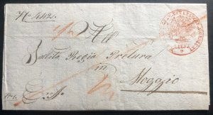 1832 Lienz Austrian Empire Stampless Vintage Letter Cover To Italy