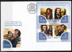 SOLOMON ISLANDS 2015 175th MEMORIAL ANNIVERSARY OF NICCOLO PAGANINI SHEET  FDC