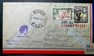 ✉ FIJI,1941,Air Mail Envelope,1st Transpacific Airmail Suva-Auckland,⚡   E102