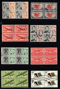 US STAMP BOB AIR MAIL BLK OF 4  USED STAMP COLLECTION LOT  #T1
