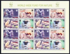 Sierra Leone WWF Patas Monkey Sheetlet of 4 sets SG#4290-4293 MI#4694-4697