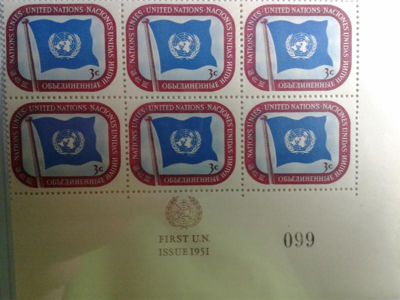 UNITED NATIONS SCOTT # 4  PLATE BLOCK  OF 6 MNH FIRST ISSUE 1951 W/PLATE # 099 !