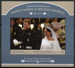 Union Isl Gren Vincent 2018 MNH Prince Harry Meghan Royal Wedding 2v S/S Stamps
