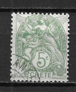 French Offices in Crete 5 5c single Used
