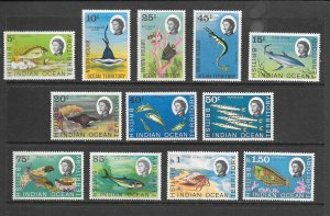 FISH - BRITISH INDIAN OCEAN TERRITORY #16/29  SHORT SET  MNH