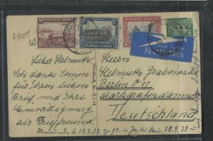 SOUTH WEST AFRICA COVER (P0405B) 1939 DEER 1/2D PSC+TRAIN 1 1/D+1D+3D A/M TO GE