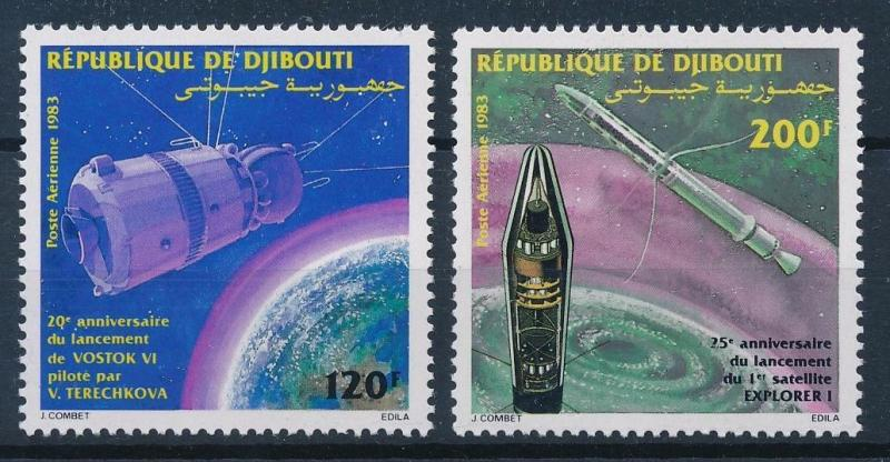 [64198] Djibouti 1983 Space Travel Weltraum Vostok 6 Explorer 1 Airmail MNH