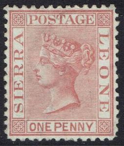 SIERRA LEONE 1872 QV 1D WMK CROWN CC UPRIGHT PERF 12.5 NO GUM