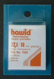 Hawid Stamp Mount 27/33 mm (27.5) - CLEAR (Pack of 50) (27x33  27mm) PRECUT 7050