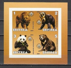 Eritrea, 2001 Cinderella issue. Various Bears IMPERF sheet of 4. *