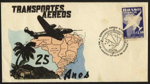 wc021 Brazil 25th Anniversary of Military Air transport June 12, 1956 FDC