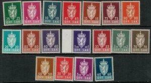 Norway SC O65-O82 MNH/Mint 1955-1961 SCV$ 87.00 Set