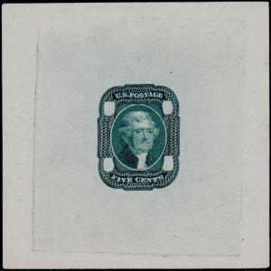 #67-E2a DIE II ESSAY ON PROOF PAPER (GREEN) SUPERB BQ4716