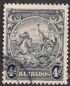 Barbados 1938 – 47 KGV1 4d Black used Error Curved Line SG 253b ( L227 )