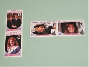 British Virgin Islands - 537-40, MNH Set in Pairs. Royal Wedding. SCV - $3.40