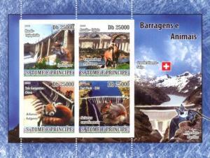 SAO TOME E PRINCIPE 2008 SHEET DAMS RED PANDA BEARS WILD CATS SQUIRRELS st8608a
